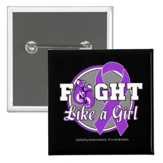 Fight Like a Girl Gloves - Leiomyosarcoma 2 Inch Square Button