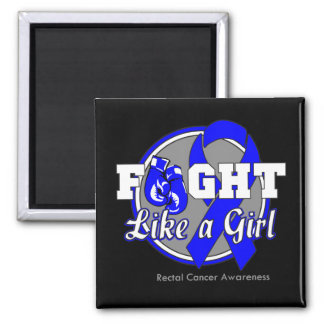 Fight Like a Girl Gloves - Rectal Cancer 2 Inch Square Magnet
