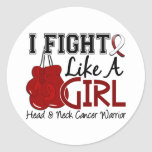 Fight Like A Girl Head And Neck Cancer 15.2 Round Stickers