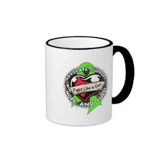 Fight Like a Girl Heart - Non Hodgkin's Lymphoma Ringer Coffee Mug