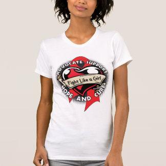 Fight Like a Girl Heart Ribbon - AIDS Tee Shirt