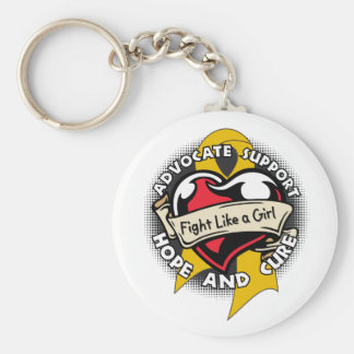 Fight Like a Girl Heart Ribbon - Appendix Cancer Key Chain