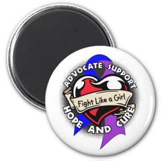 Fight Like a Girl Heart Ribbon - Childhood Stroke Fridge Magnet
