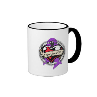 Fight Like a Girl Heart Ribbon - Epilepsy Coffee Mug