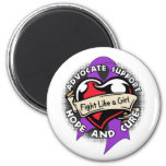 Fight Like a Girl Heart Ribbon - Fibromyalgia Refrigerator Magnets