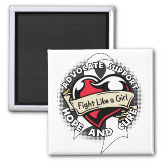 Fight Like a Girl Heart Ribbon - Lung Cancer Fridge Magnets