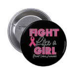 Fight Like a Girl Hot Pink Ribbon - Breast Cancer Buttons