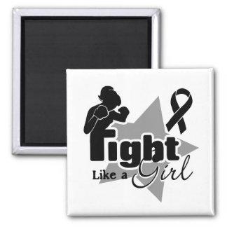 Fight Like a Girl - Melanoma 2 Inch Square Magnet