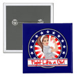 Fight Like a Girl Modern Patriotic Rosie Riveter Pins