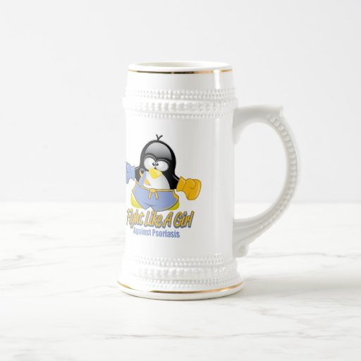 Fight Like A Girl Psoriasis 18 Oz Beer Stein