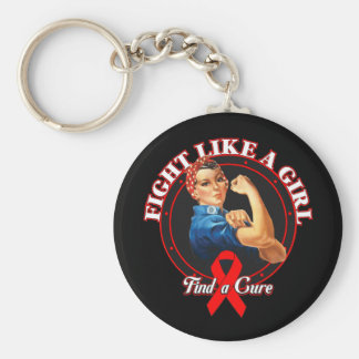 Fight Like a Girl Rosie Riveter - AIDS Keychain