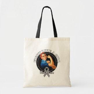 Fight Like a Girl Rosie Riveter - Brain Tumor Canvas Bags