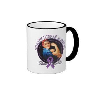 Fight Like a Girl Rosie Riveter Domestic Violence Ringer Coffee Mug