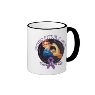 Fight Like a Girl Rosie Riveter Domestic Violence Ringer Coffee Mug