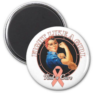 Fight Like a Girl Rosie Riveter Endometrial Cancer 2 Inch Round Magnet