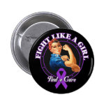 Fight Like a Girl Rosie Riveter - Fibromyalgia Pins