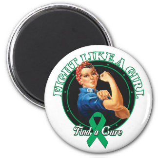 Fight Like a Girl Rosie Riveter - Liver Disease Magnets