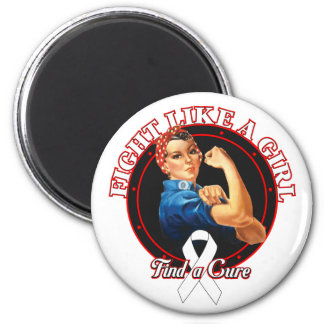 Fight Like a Girl Rosie Riveter - Lung Cancer Refrigerator Magnet