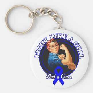 Fight Like a Girl Rosie Riveter - Rectal Cancer Basic Round Button Keychain