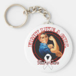 Fight Like a Girl Rosie Riveter - Retinoblastoma Keychain