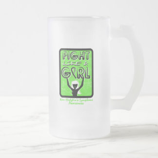 Fight Like A Girl Sign Non-Hodgkin's Lymphoma 16 Oz Frosted Glass Beer Mug
