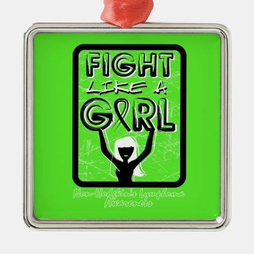 Fight Like A Girl Slogan  Non-Hodgkin's Lymphoma Christmas Ornament