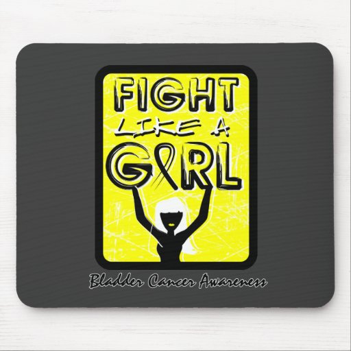 Fight Like A Girl Slogan Sign Bladder Cancer Mouse Pad