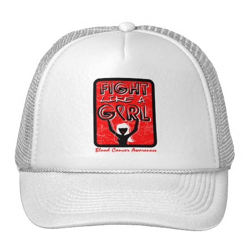 Fight Like A Girl Slogan Sign Blood Cancer Trucker Hat