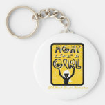 Fight Like A Girl Slogan Sign Childhood Cancer Key Chain