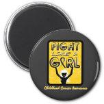 Fight Like A Girl Slogan Sign Childhood Cancer Magnet
