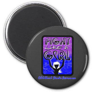 Fight Like A Girl Slogan Sign Childhood Stroke 2 Inch Round Magnet