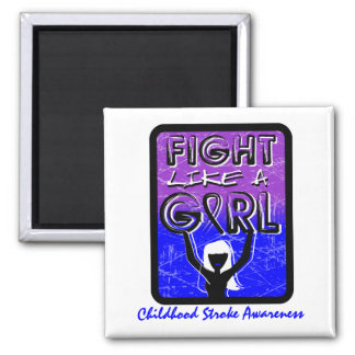Fight Like A Girl Slogan Sign Childhood Stroke 2 Inch Square Magnet
