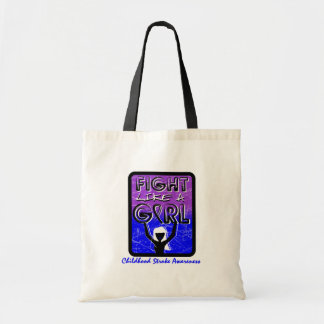 Fight Like A Girl Slogan Sign Childhood Stroke Tote Bag