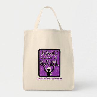 Fight Like A Girl Slogan Sign Cystic Fibrosis Grocery Tote Bag
