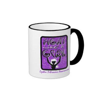 Fight Like A Girl Slogan Sign Cystic Fibrosis Ringer Coffee Mug