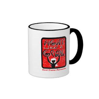 Fight Like A Girl Slogan Sign Heart Disease Ringer Coffee Mug