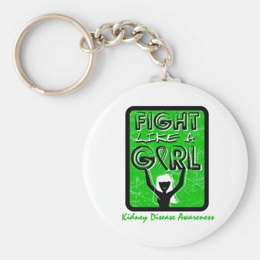 Fight Like A Girl Slogan Sign Kidney Disease Basic Round Button Keychain
