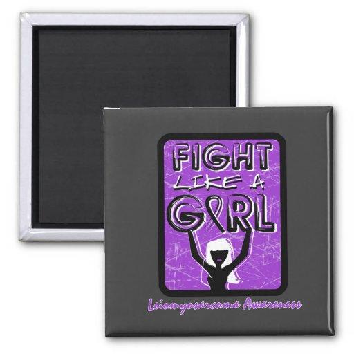 Fight Like A Girl Slogan Sign Leiomyosarcoma Fridge Magnet