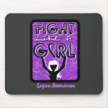 Fight Like A Girl Slogan Sign Lupus Mousepad