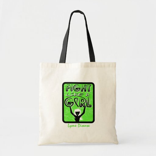 Fight Like A Girl Slogan Sign Lyme Disease Tote Bags