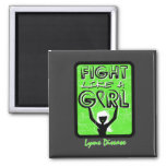 Fight Like A Girl Slogan Sign Lyme Disease Magnets