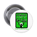 Fight Like A Girl Slogan Sign Mental Health Buttons