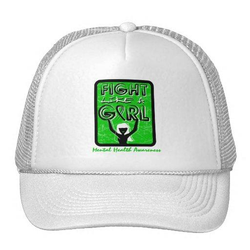 Fight Like A Girl Slogan Sign Mental Health Mesh Hats