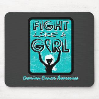 Fight Like A Girl Slogan Sign Ovarian Cancer Mousepad