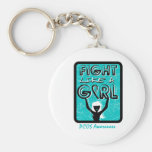 Fight Like A Girl Slogan Sign PCOS Key Chains