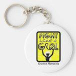Fight Like A Girl Slogan Sign Sarcoma Keychains