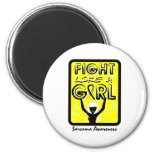 Fight Like A Girl Slogan Sign Sarcoma Magnets