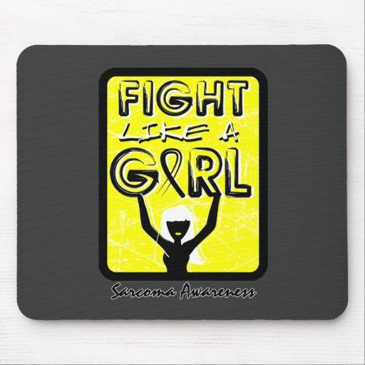 Fight Like A Girl Slogan Sign Sarcoma Mousepads