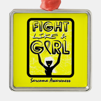 Fight Like A Girl Slogan Sign Sarcoma Square Metal Christmas Ornament
