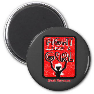 Fight Like A Girl Slogan Sign Stroke 2 Inch Round Magnet